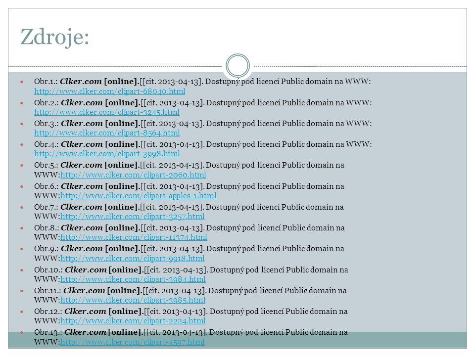 Zdroje: Obr.1.: Clker.com [online].[[cit. 2013-04-13]. Dostupný pod licencí Public domain na WWW: http://www.clker.com/clipart-68040.html.